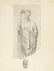 Abbotsbury Dormitory, figure of an abbot